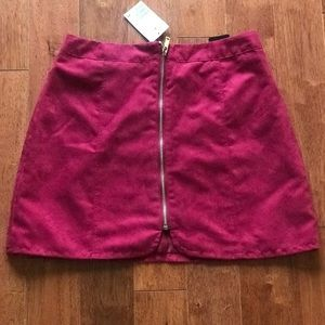 NWT H&M Maroon Suede Zip Up Mini Skirt